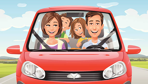 Vector illustration of a happy family with two kids driving in a red car on a country road. EPS 10.