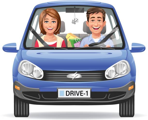 Illustration of a happy young couple driving in a blue car, isolated on white.